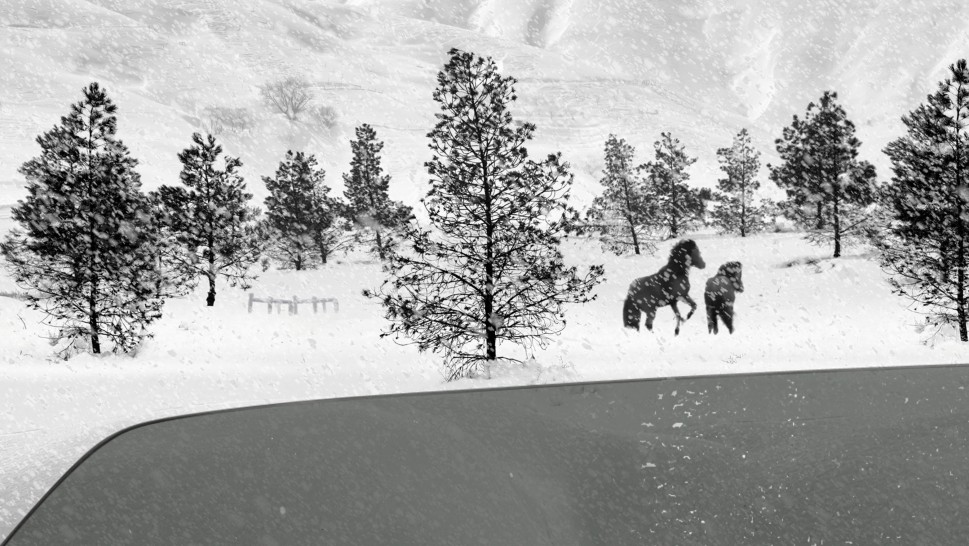 snowy landscape with trees, horses and a river's edge