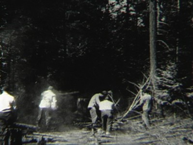 black-and-white image of men chopping wood in forest